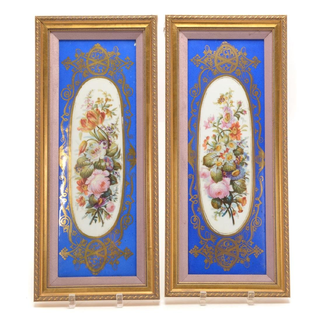 Pair of Sevres Style Porcelain Plaques with Floral