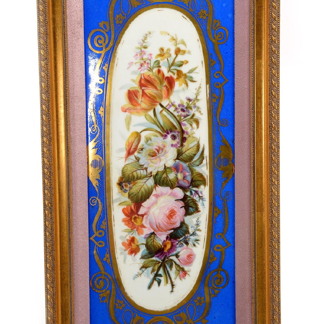 Pair of Sevres Style Porcelain Plaques with Floral - 2