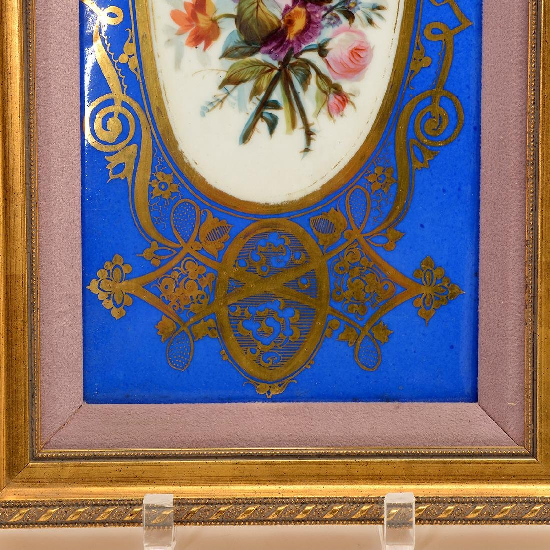 Pair of Sevres Style Porcelain Plaques with Floral - 4