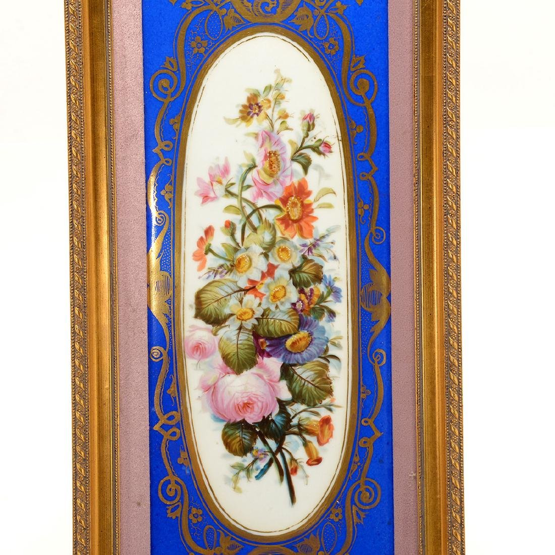 Pair of Sevres Style Porcelain Plaques with Floral - 5