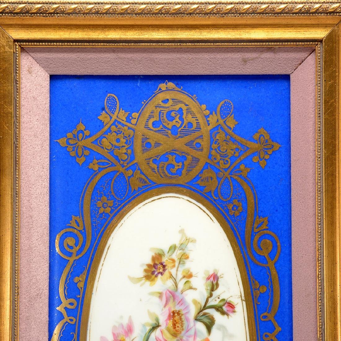 Pair of Sevres Style Porcelain Plaques with Floral - 6