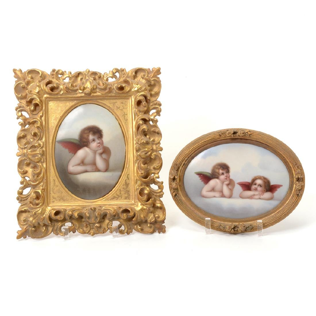 Two Italian Porcelain Plaques of Angels