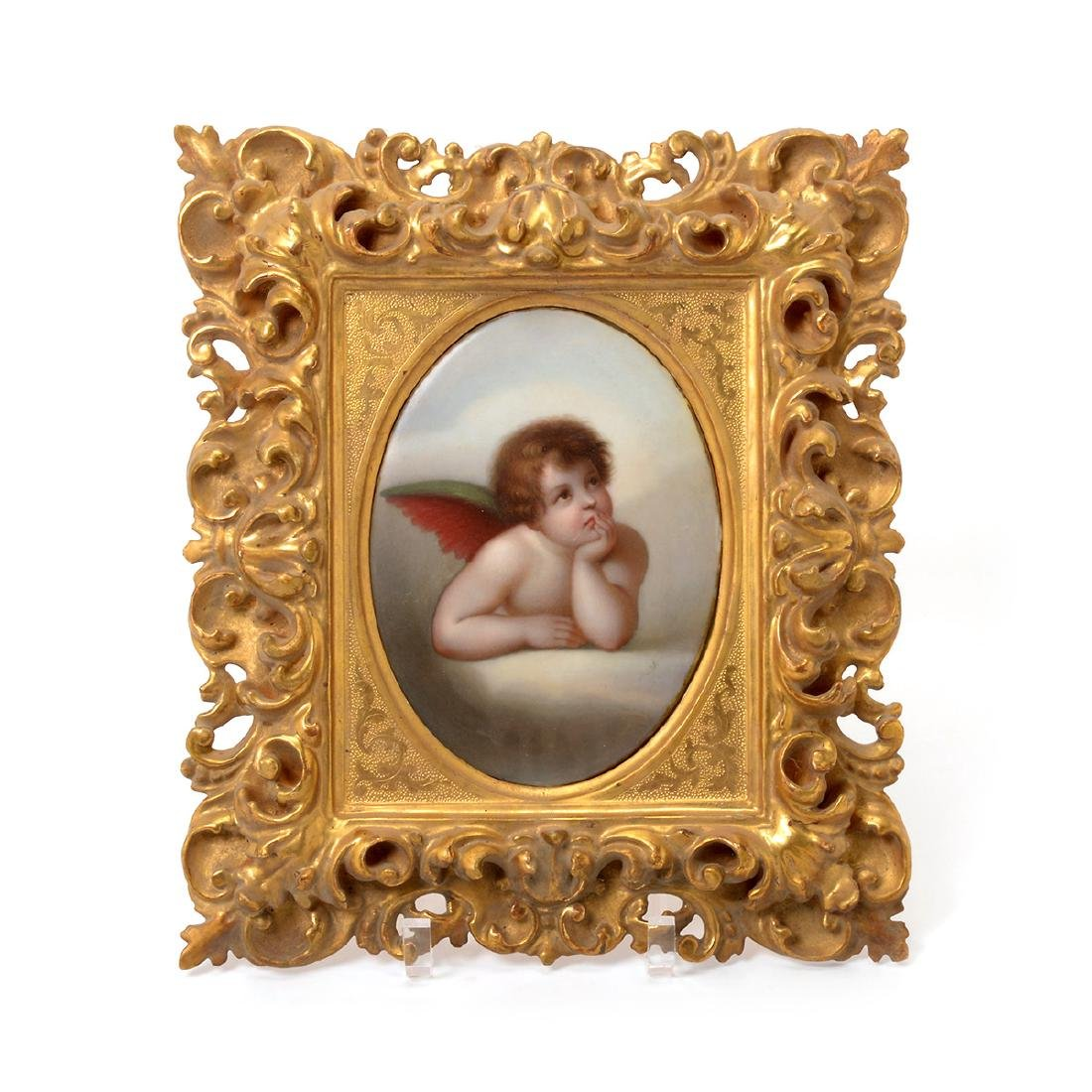 Two Italian Porcelain Plaques of Angels - 2