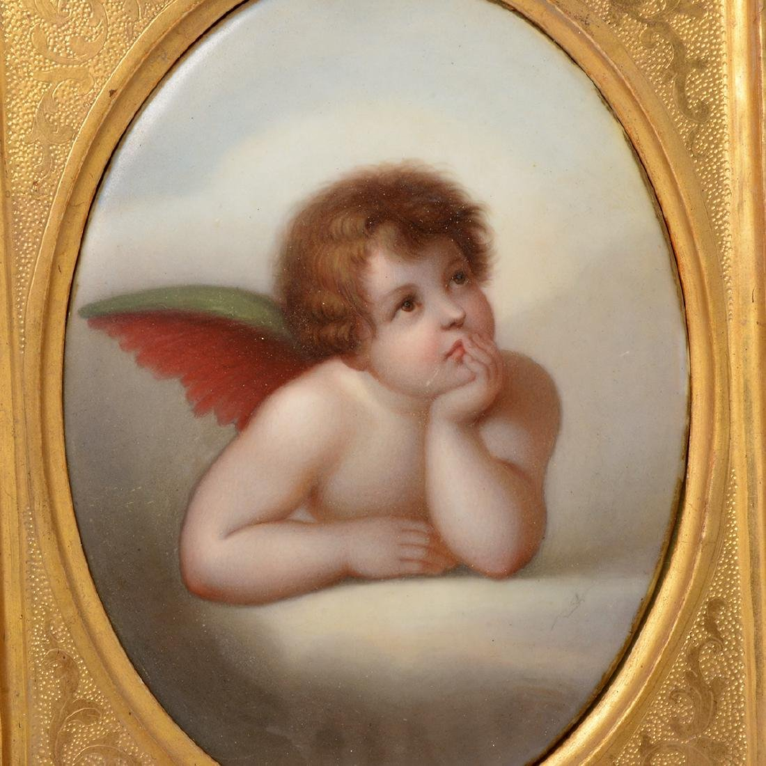 Two Italian Porcelain Plaques of Angels - 4