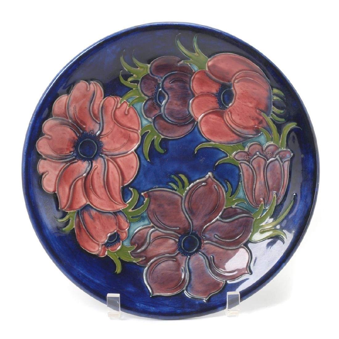 Moorcroft Blue Ground Floral Tubelined Plate
