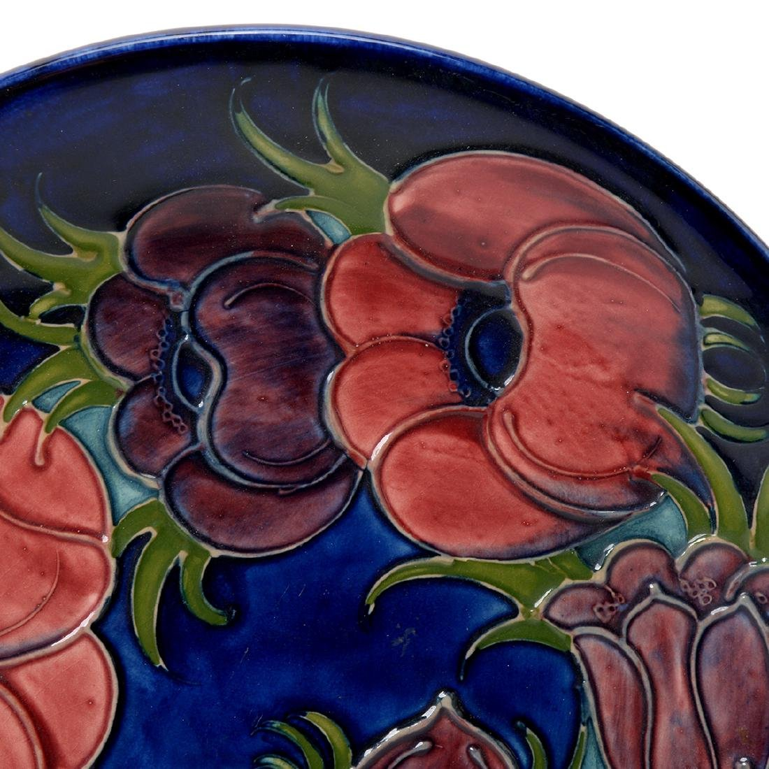 Moorcroft Blue Ground Floral Tubelined Plate - 2