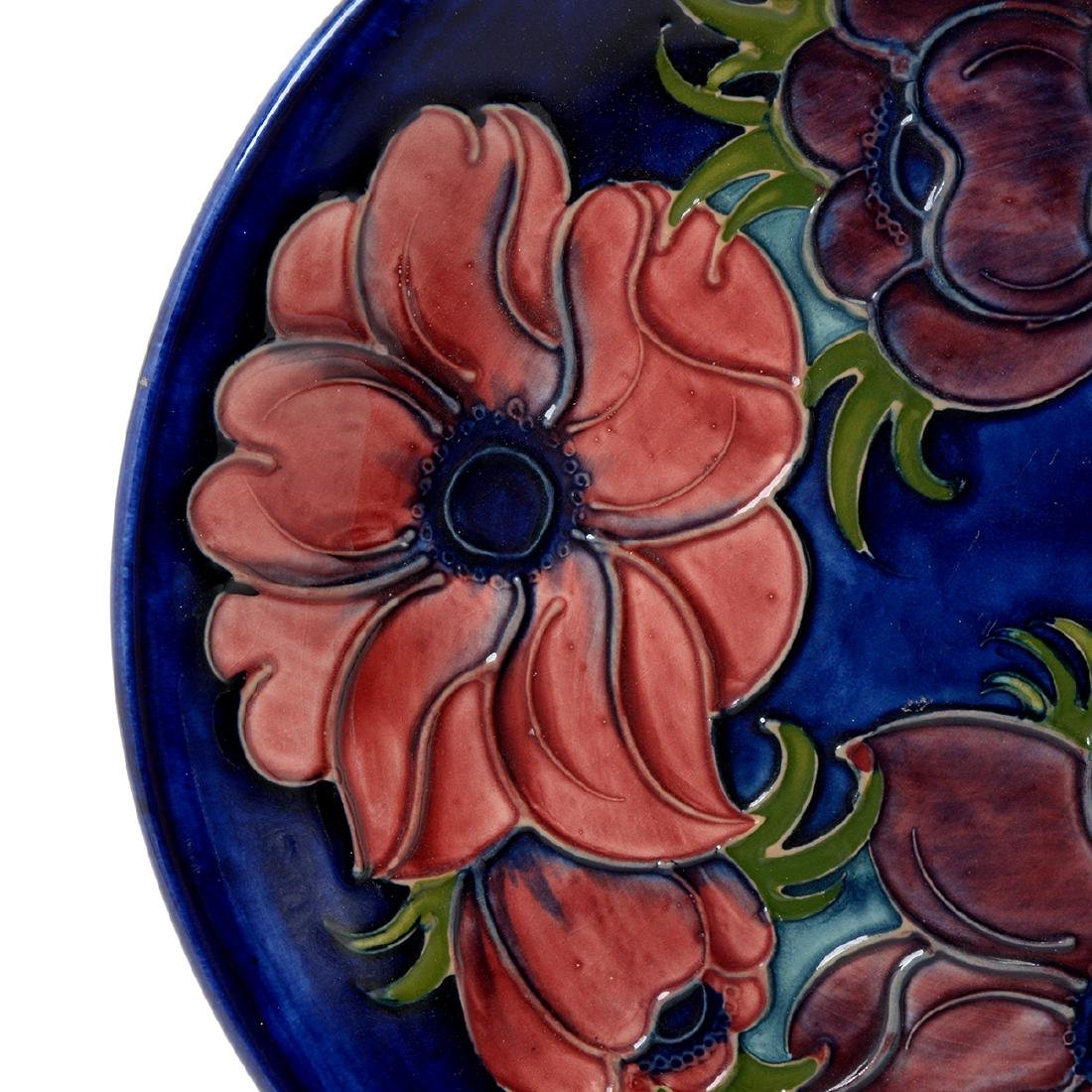 Moorcroft Blue Ground Floral Tubelined Plate - 3
