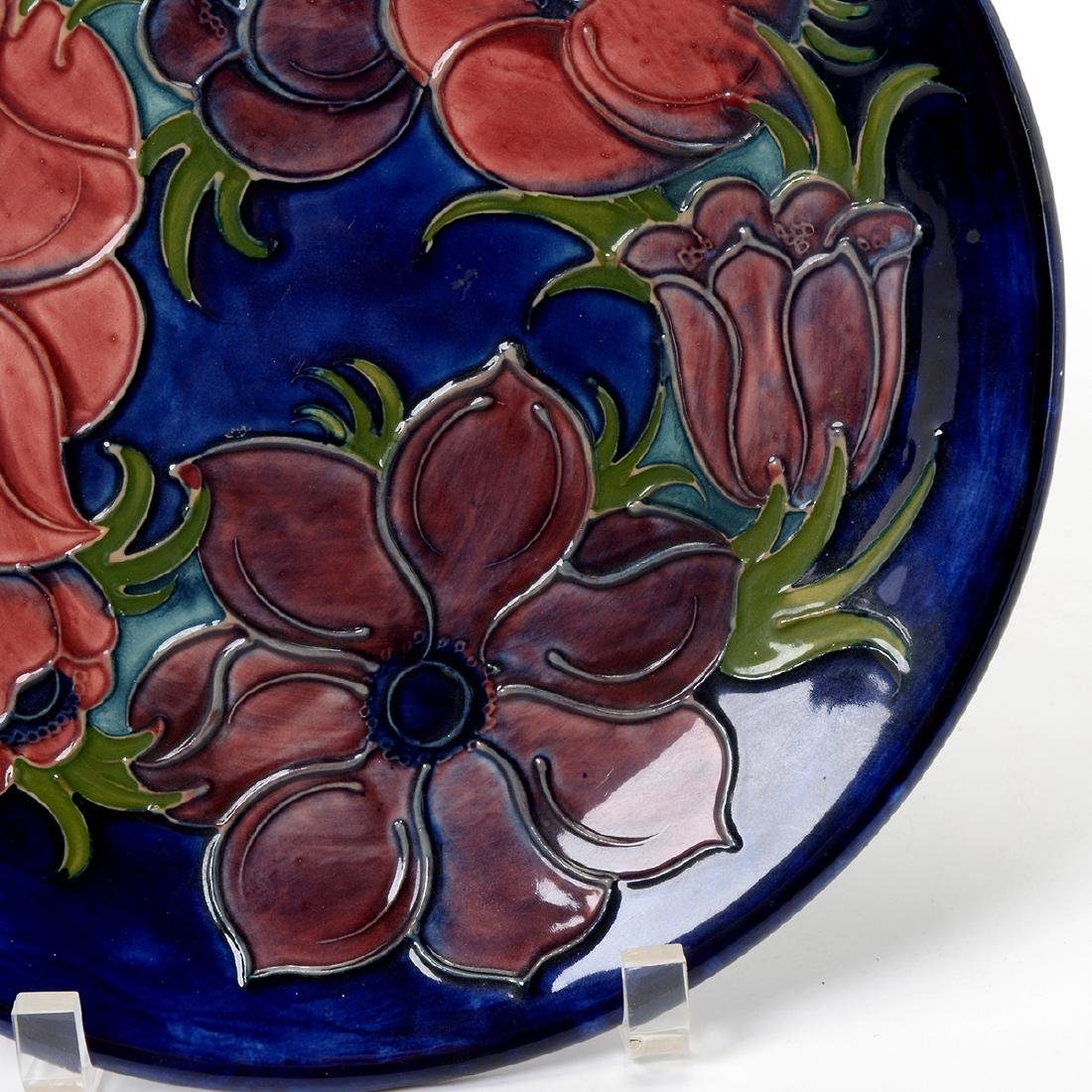Moorcroft Blue Ground Floral Tubelined Plate - 4