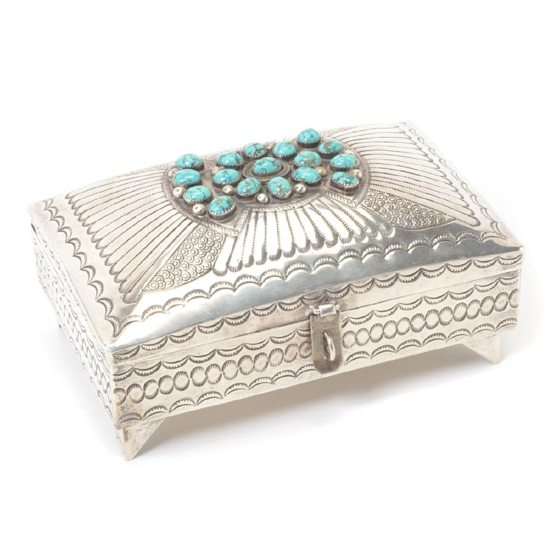 Navajo Turquoise Mounted Sterling Box