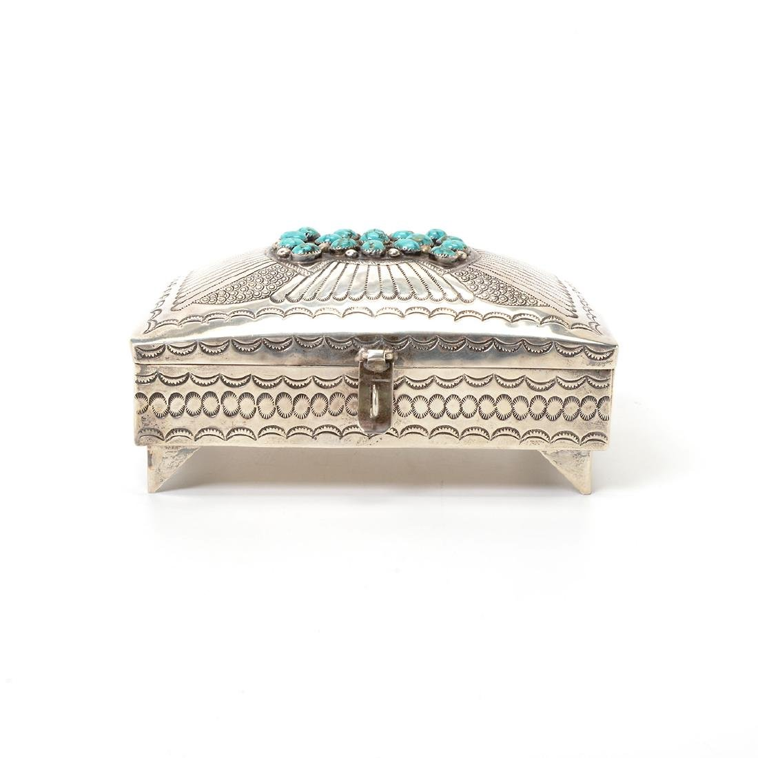 Navajo Turquoise Mounted Sterling Box - 2