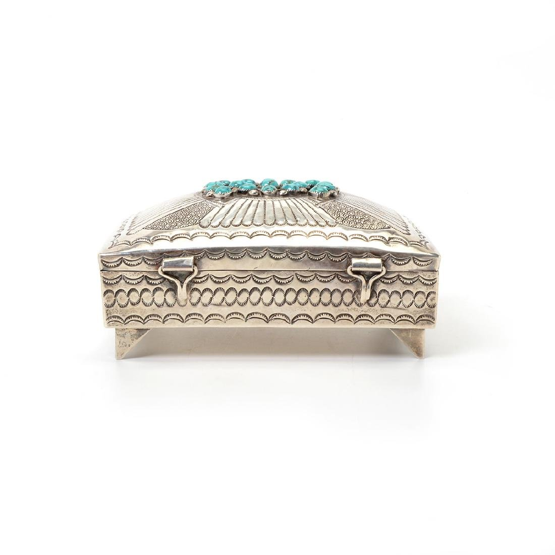 Navajo Turquoise Mounted Sterling Box - 3