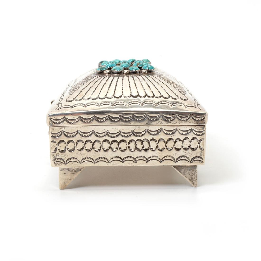 Navajo Turquoise Mounted Sterling Box - 4
