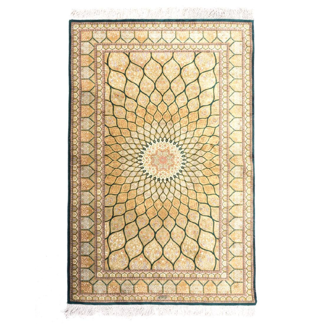 Qum Silk Prayer Rug: 3 feet 2 1/2 inches x 5 feet 1
