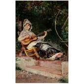 """Harry Humphrey Moore """"Spanish Lady Playing Guitar"""" oil"""