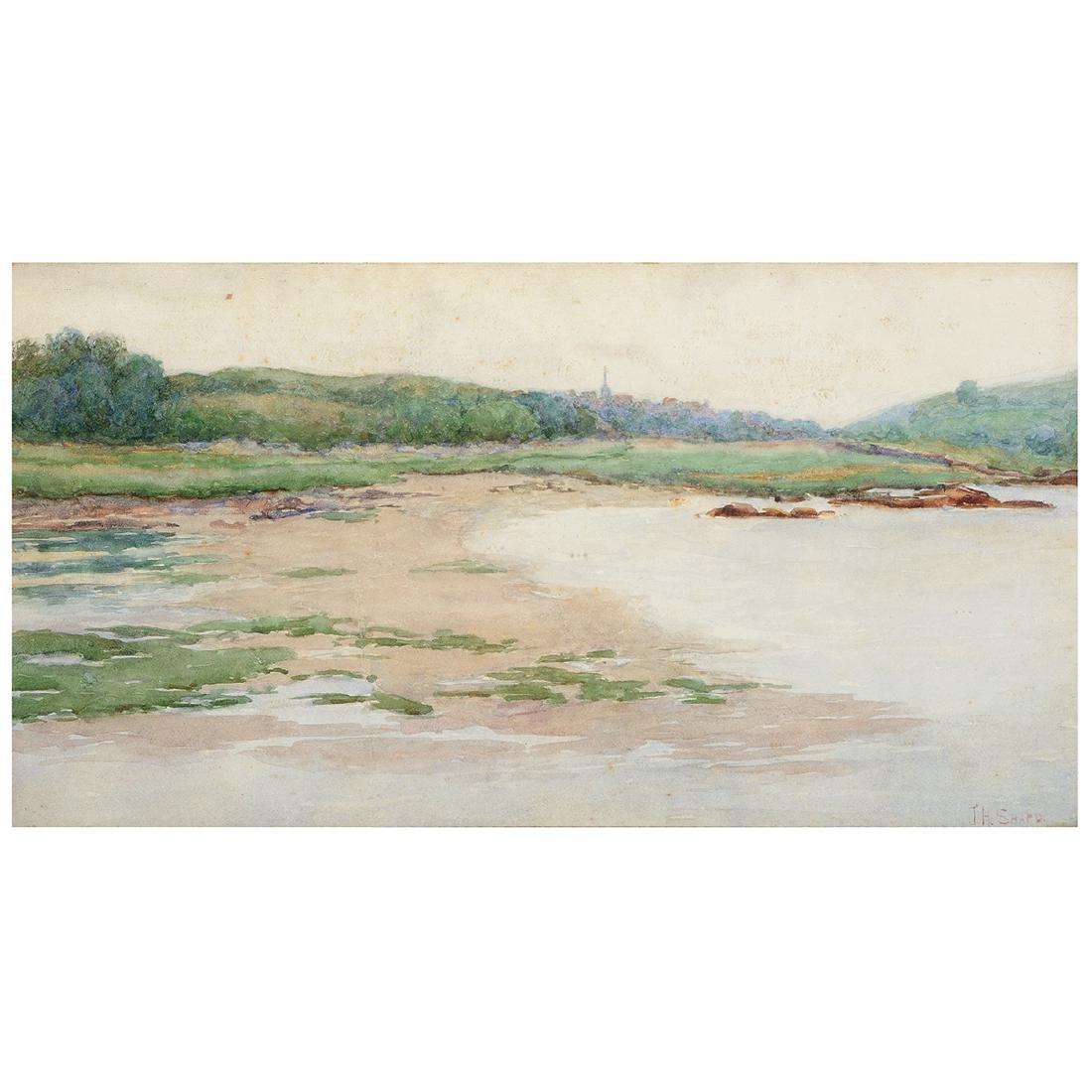 """Joseph Henry Sharp """"Marsh Scene"""" watercolor on paper"""