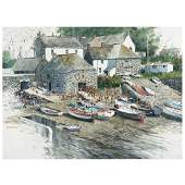 """Gerald Brommer """"Stone Cottages with boats"""" watercolor"""