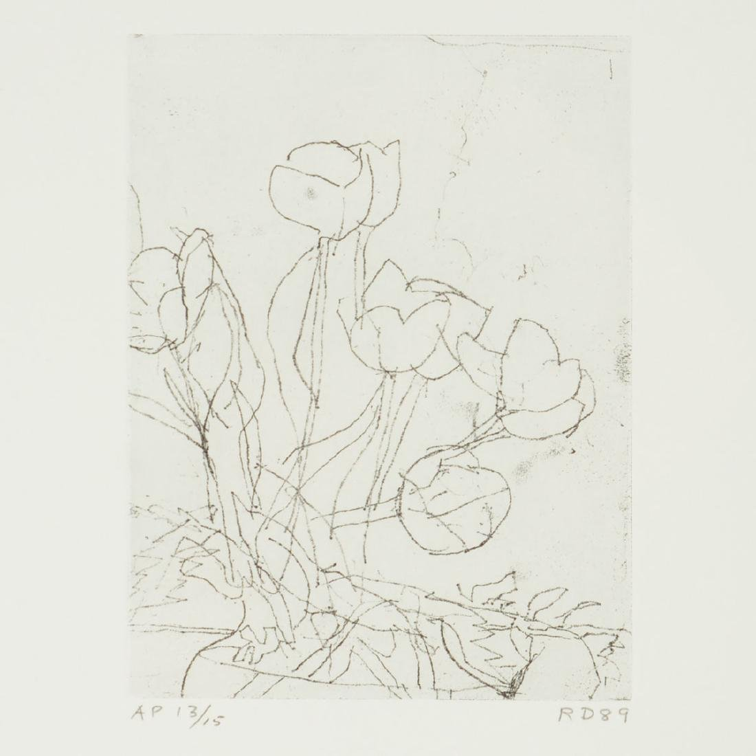"Richard Diebenkorn ""Tulips"" soft ground etching"