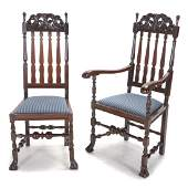 Set of Six Dutch Baroque Style Walnut Dining Chairs