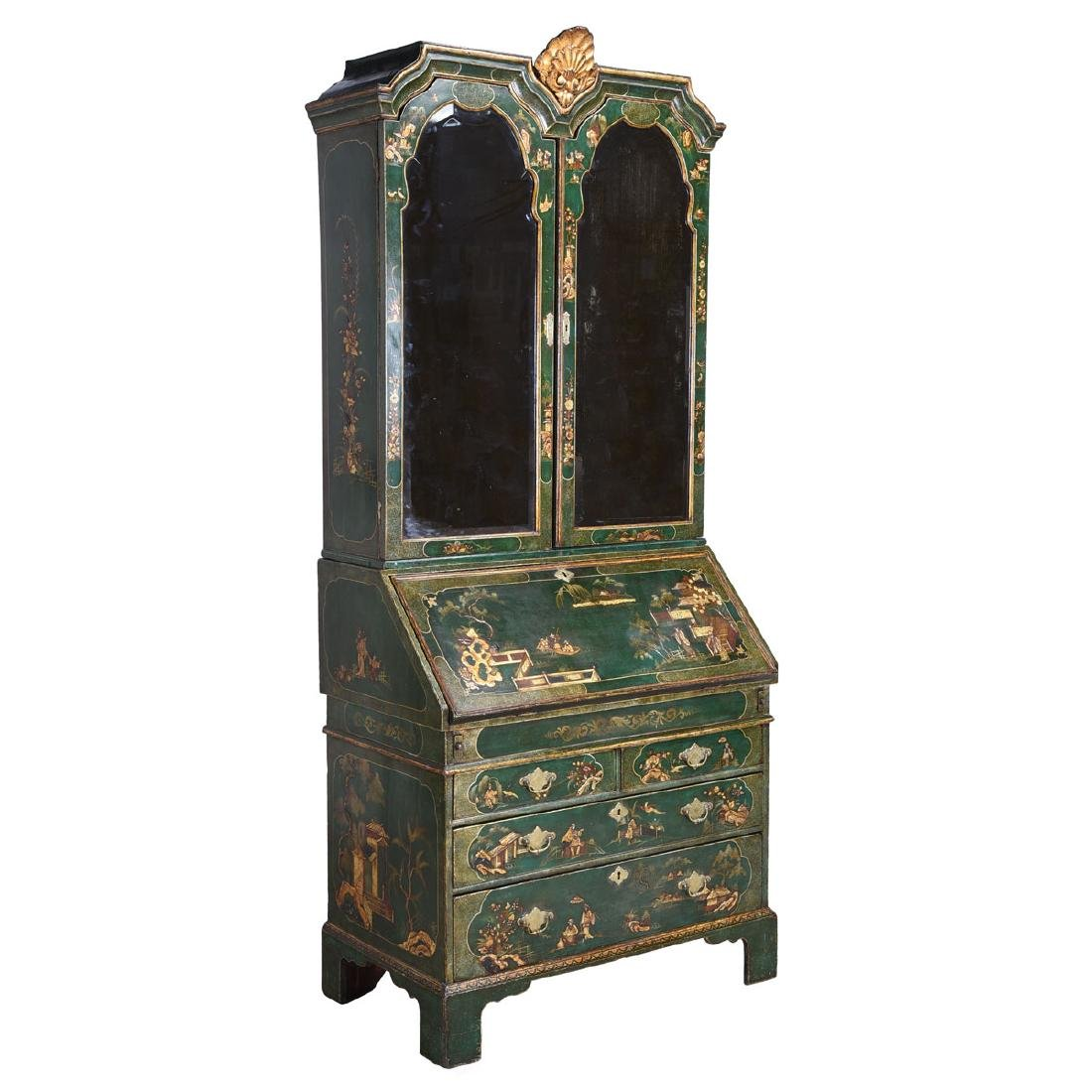 Continental Baroque Green Japanned and Paint Decorated