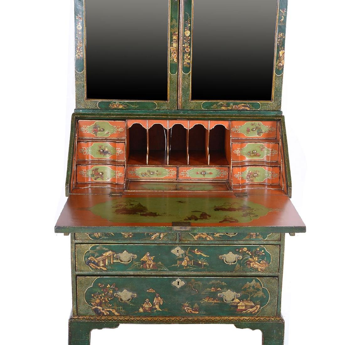 Continental Baroque Green Japanned and Paint Decorated - 4