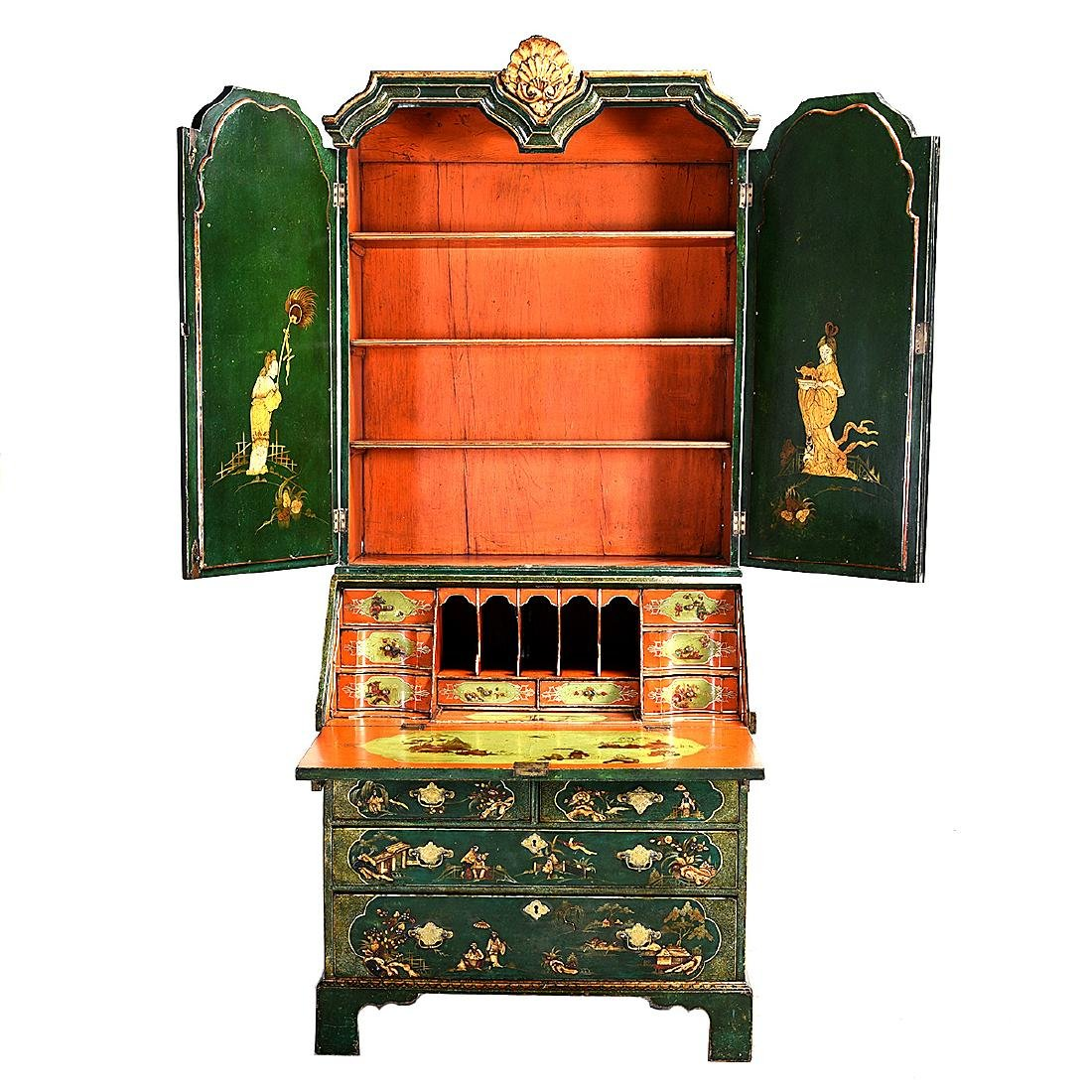 Continental Baroque Green Japanned and Paint Decorated - 8