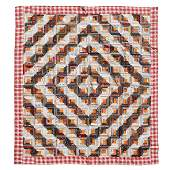 Pieced Log Cabin Quilt lined with red gingham cotton