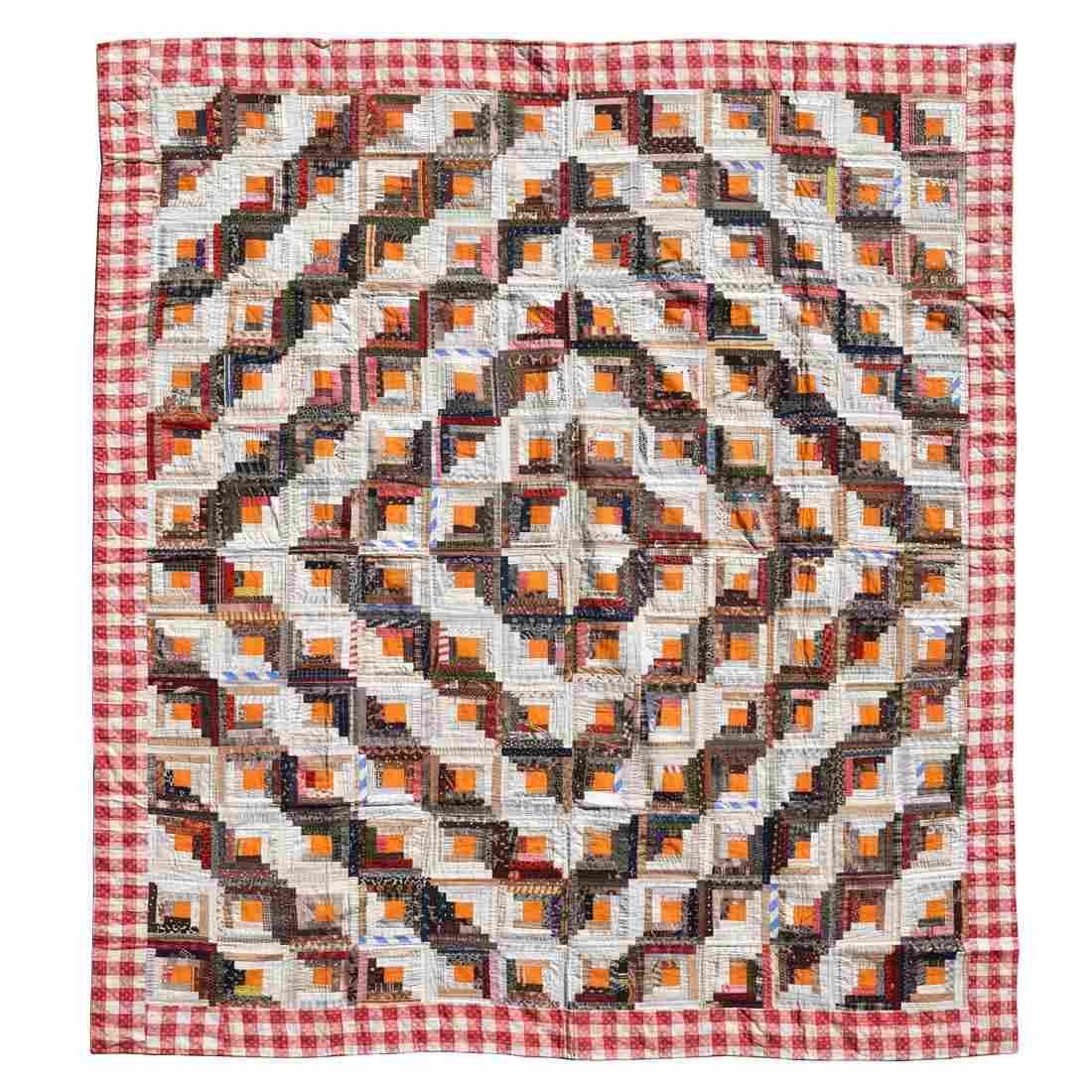 Pieced Log Cabin Quilt, lined with red gingham cotton