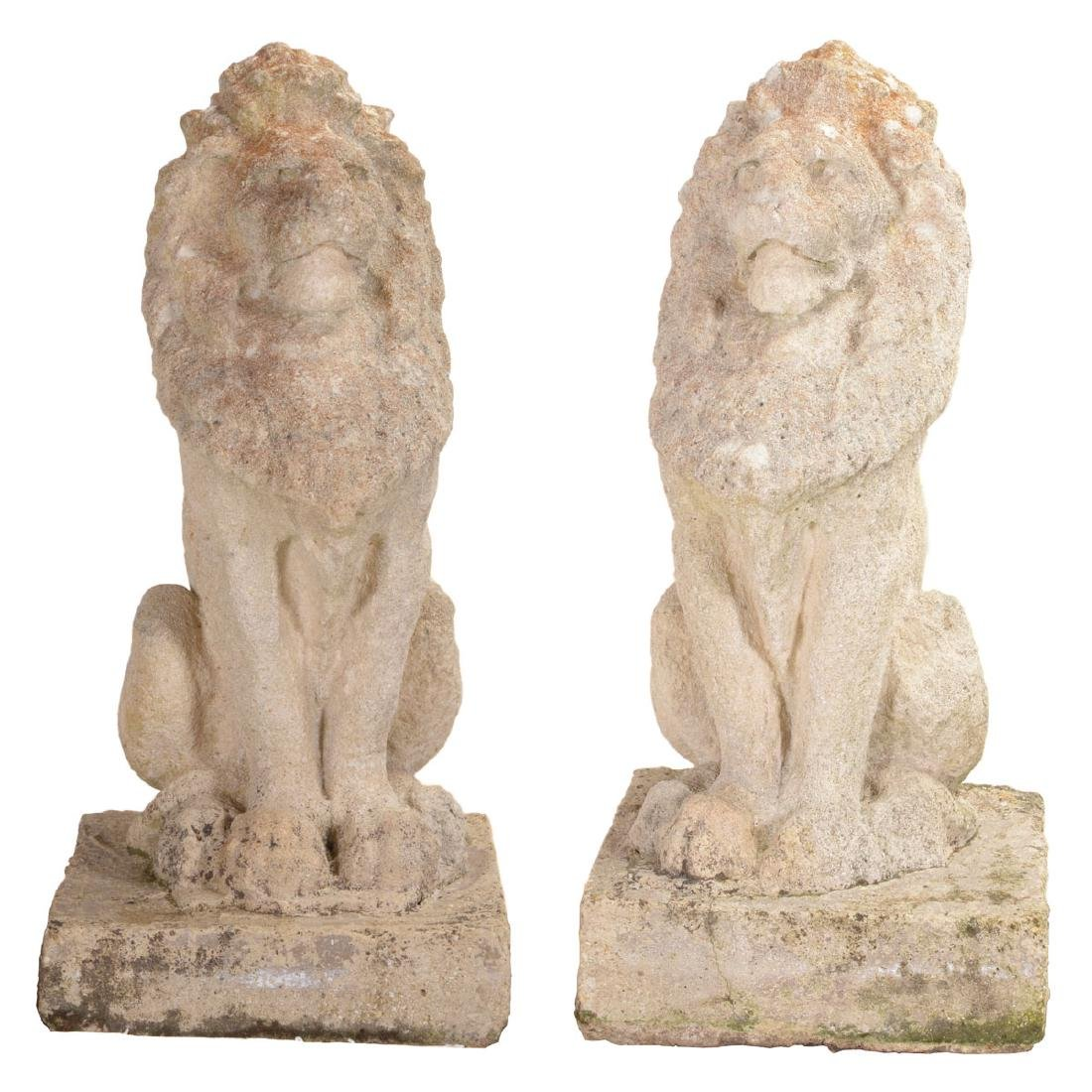 Pr English Baroque Style Stone Lions Guardant, after