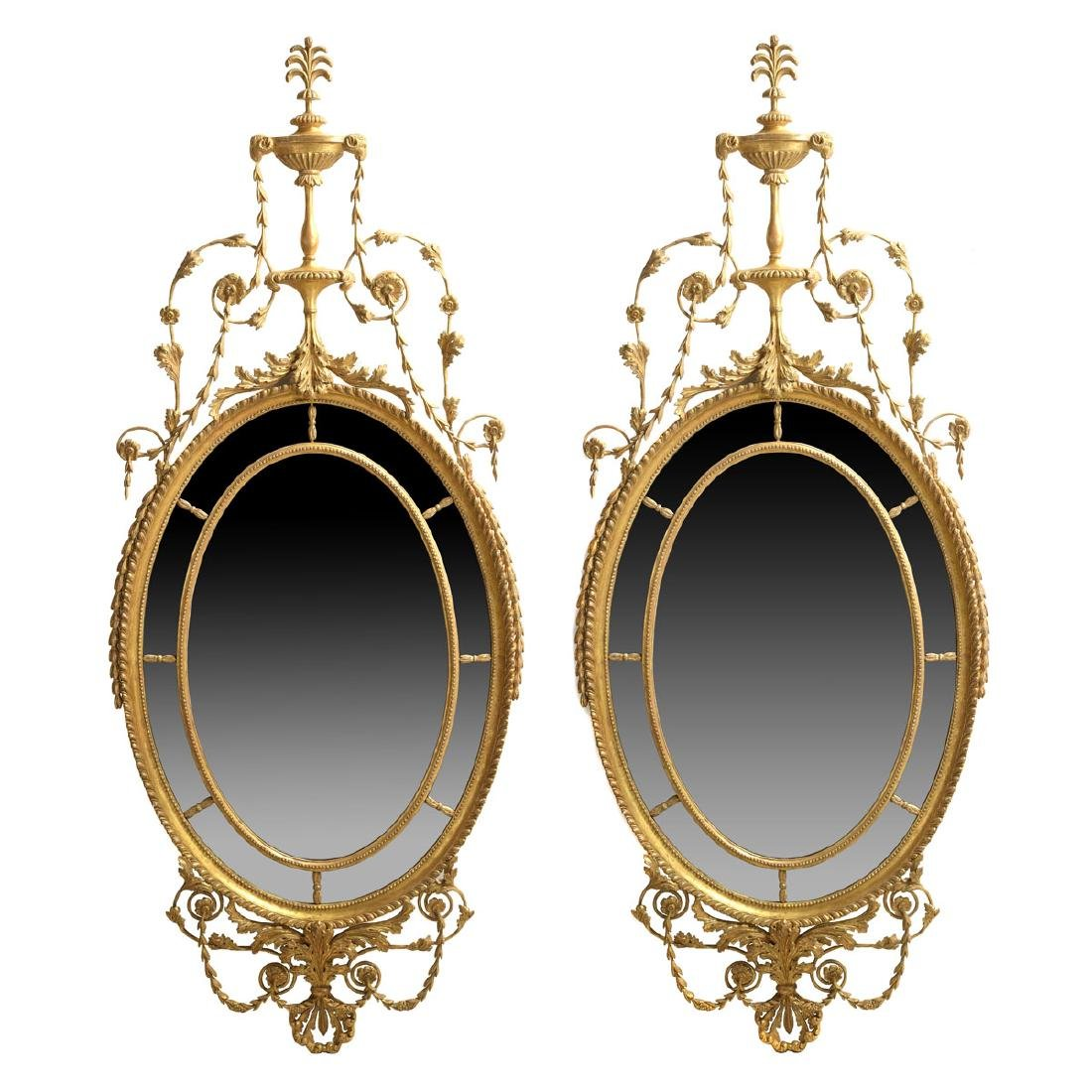 Exceptional Pair of George III Oval Mirrors in the