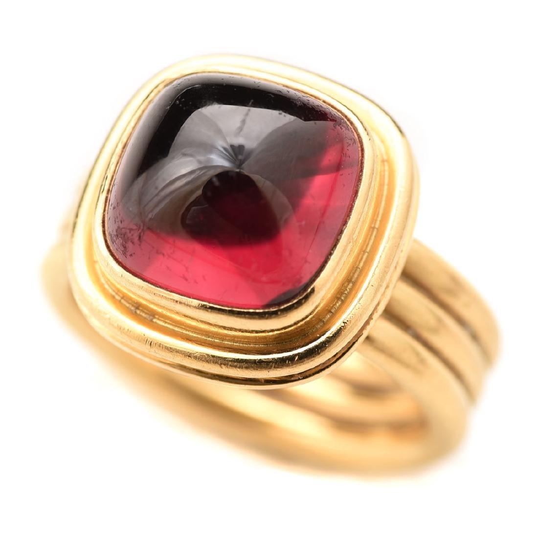 G. Baud Garnet, 18k Yellow Gold Ring.