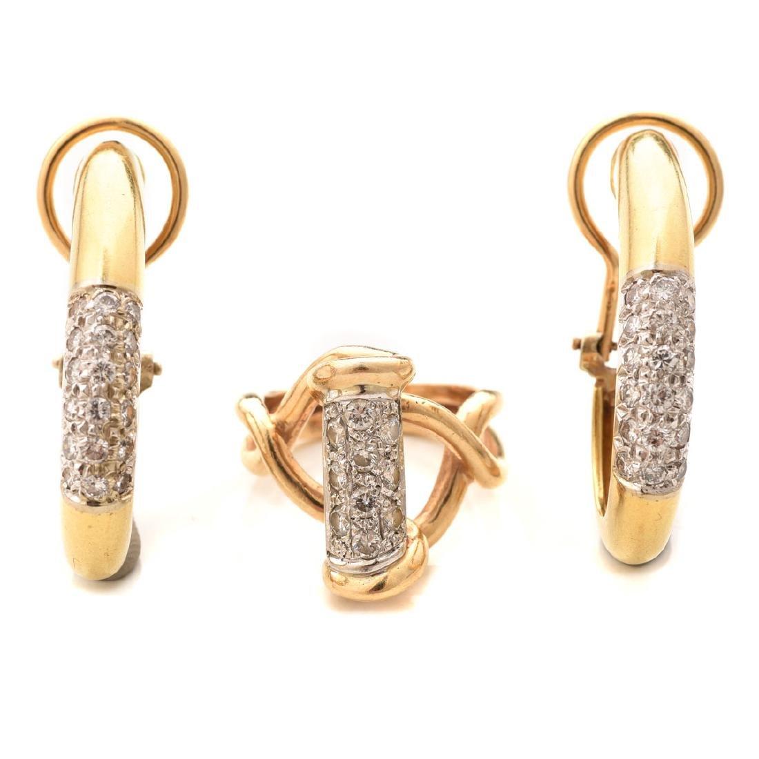 Diamond, Yellow & White Gold Jewelry Suite.