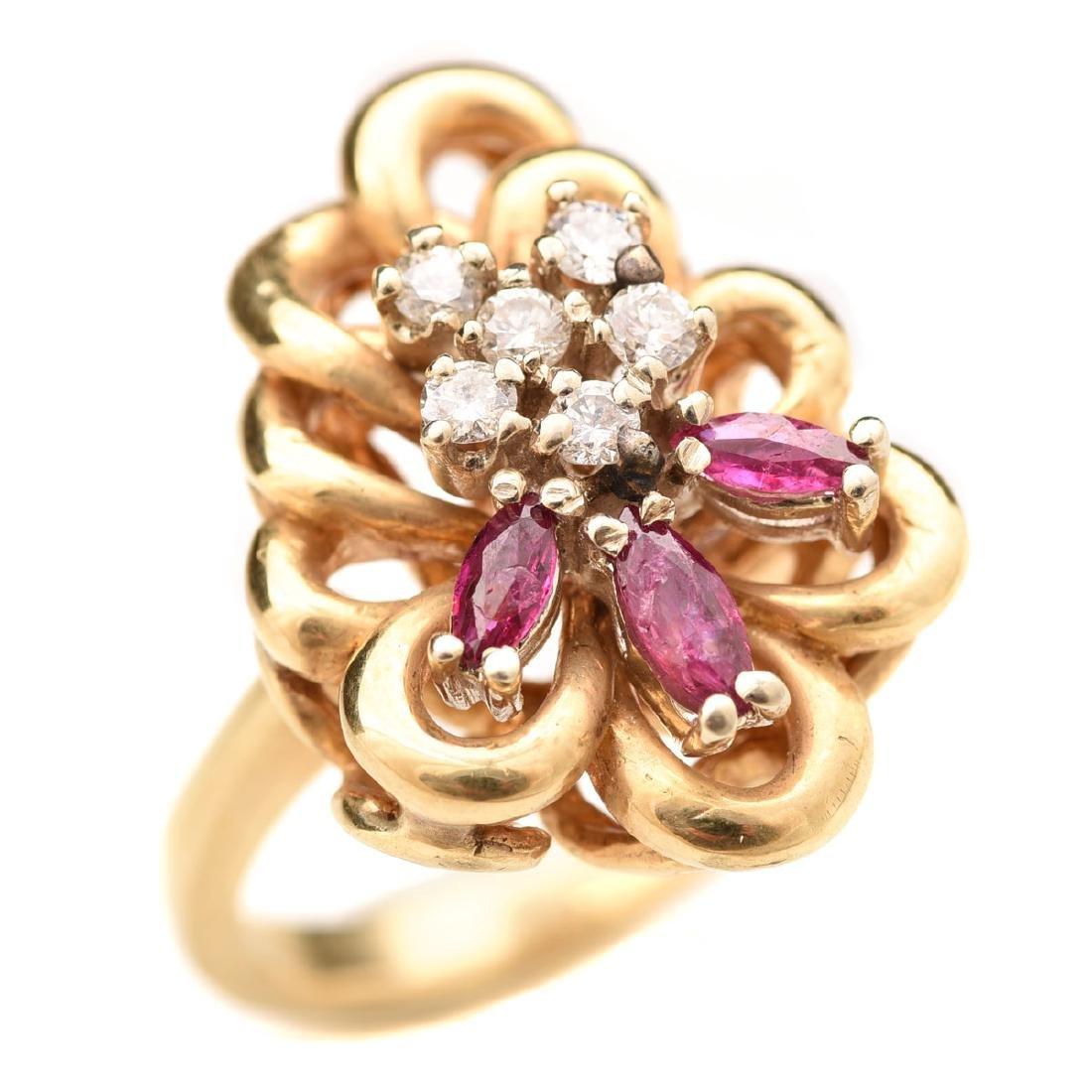 Diamond, Ruby, 14k Yellow Gold Ring.