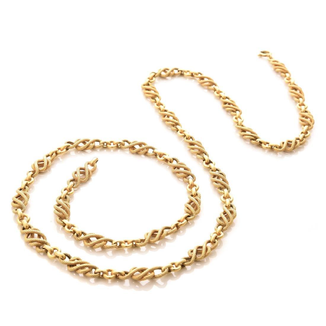 14k Yellow Gold Long Chain.