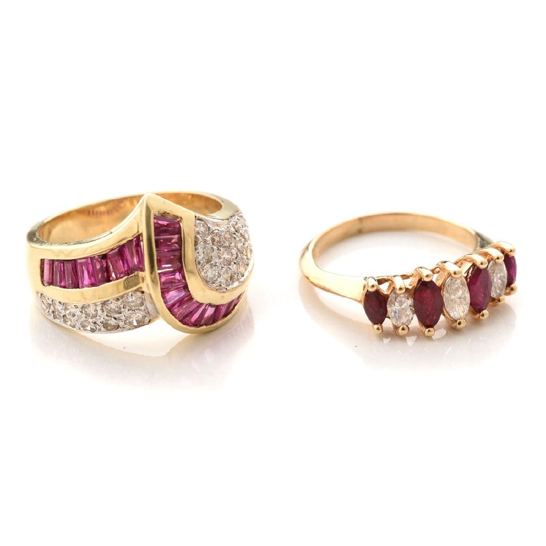 Collection of Two Diamond, Ruby, 14k Yellow Gold Rings.