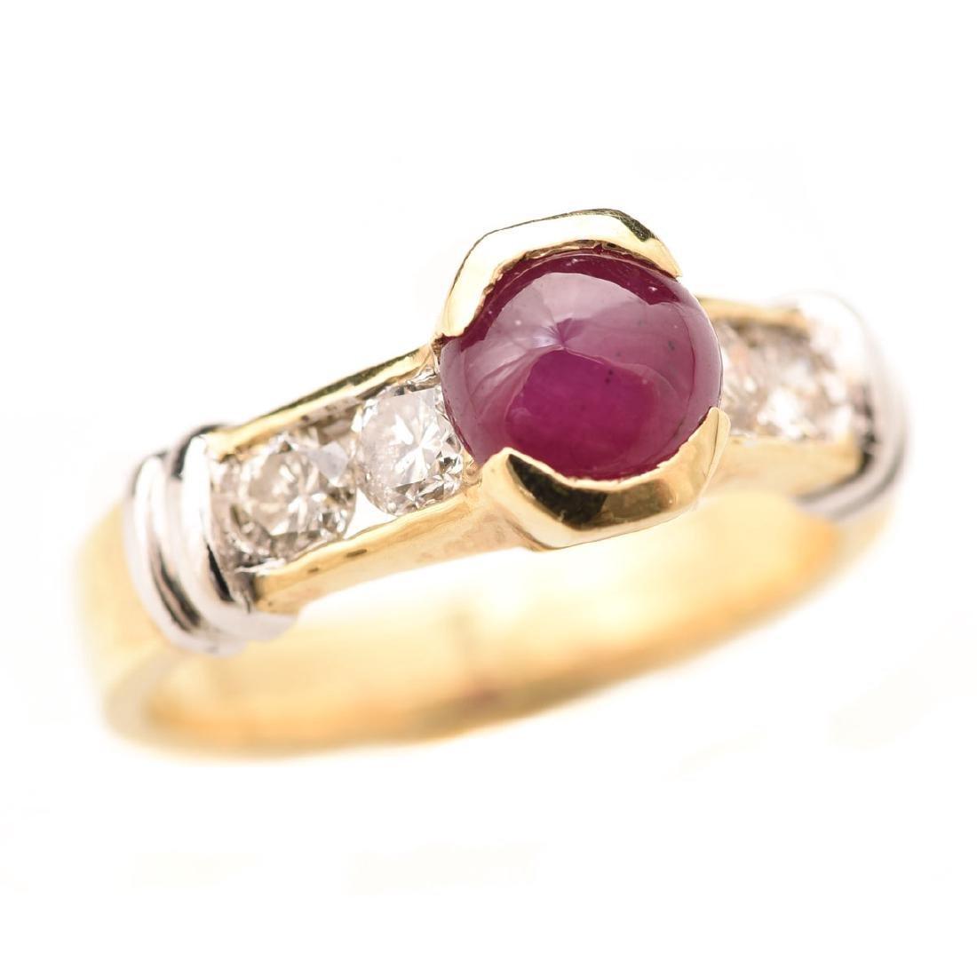 Ruby, Diamond, 14k Gold Ring.