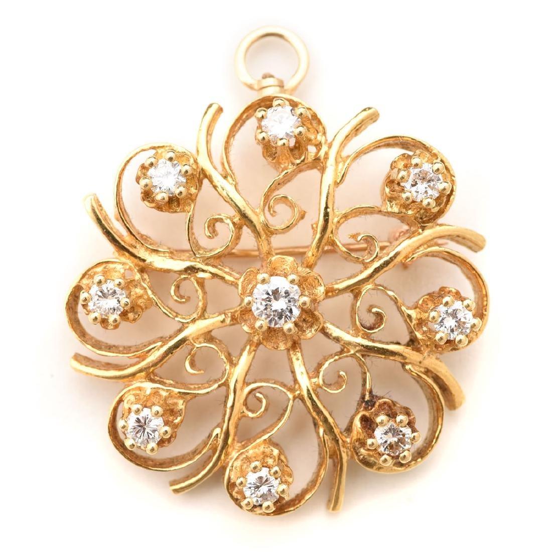 Diamond, 18k Yellow Gold Pendant Brooch.