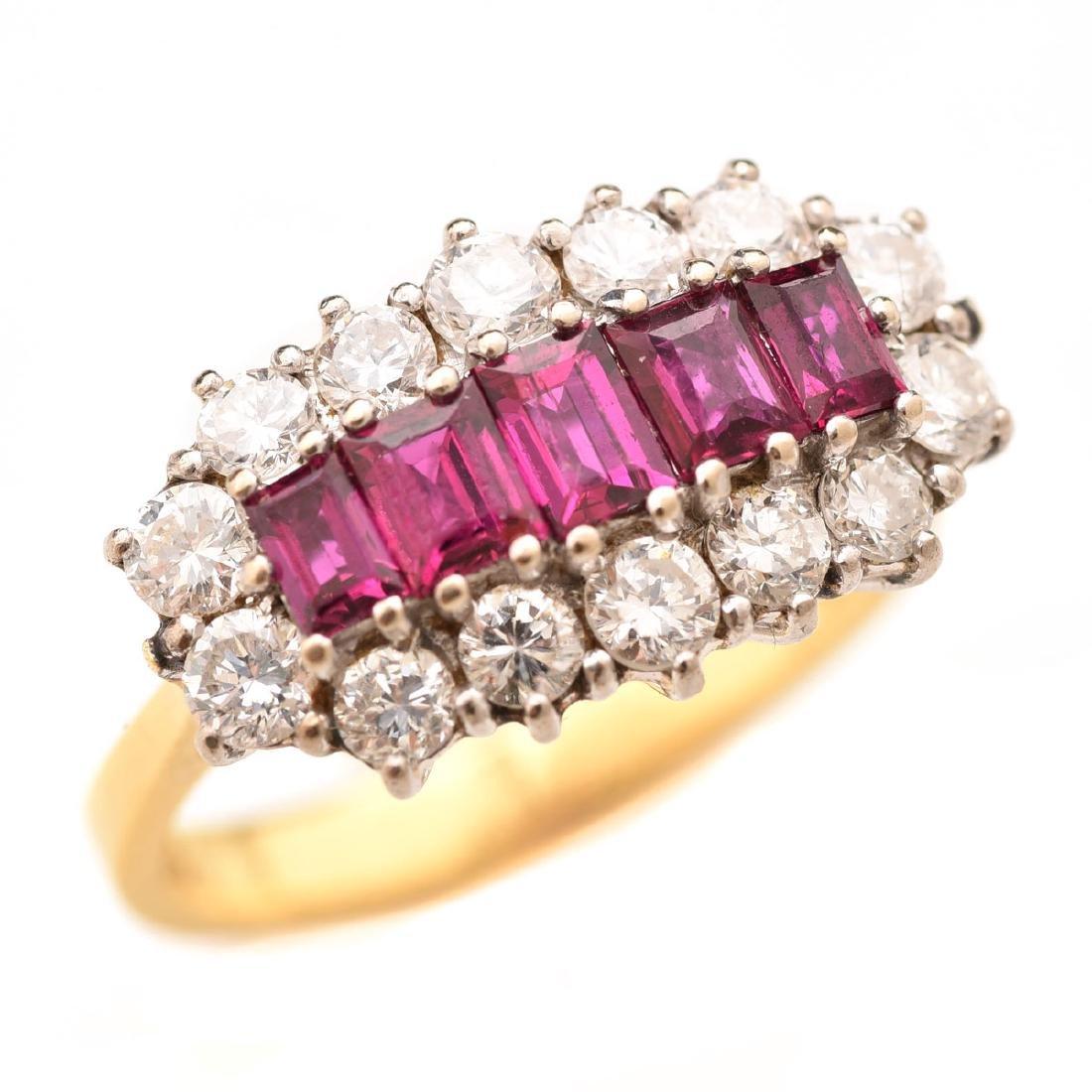 Ruby, Diamond, Platinum, 18k Yellow Gold Ring.