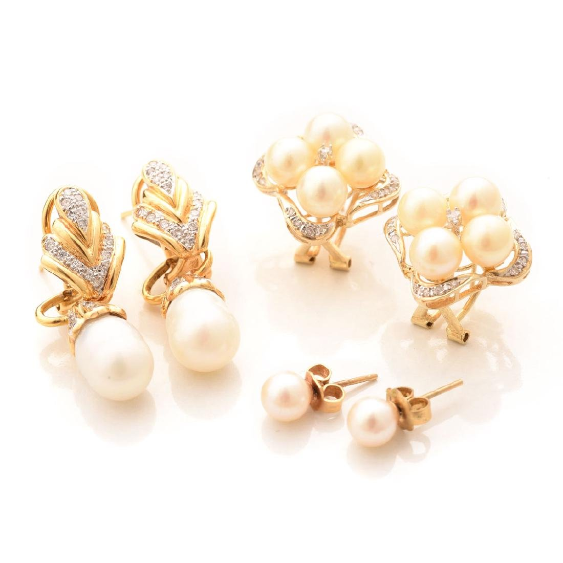 Collection of Three Pairs of Cultured Pearl, Diamond,