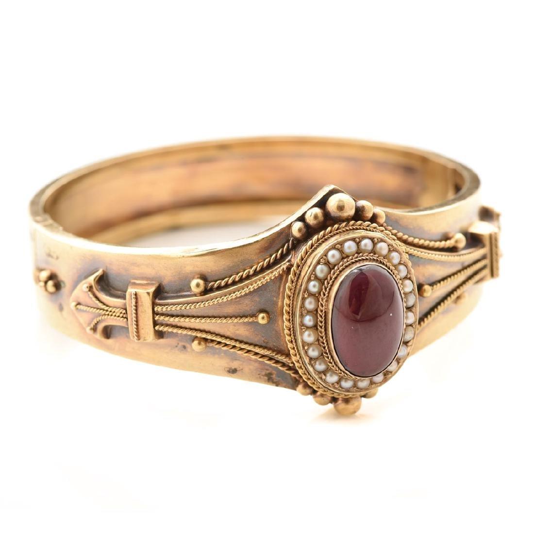Victorian Etruscan Revival Garnet, Seed Pearl, 14k