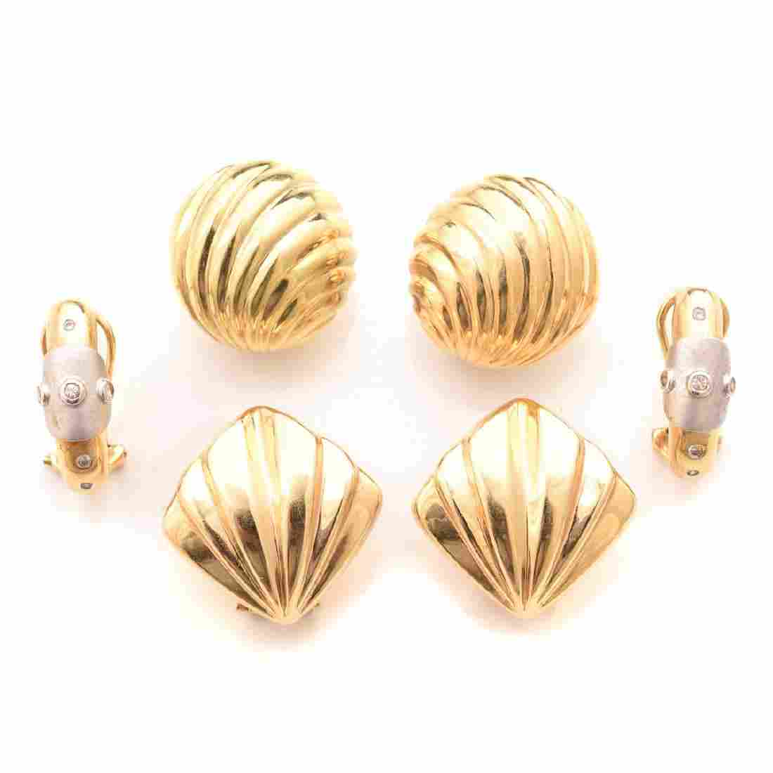 Collection of Three Pairs of Diamond, 14k Gold