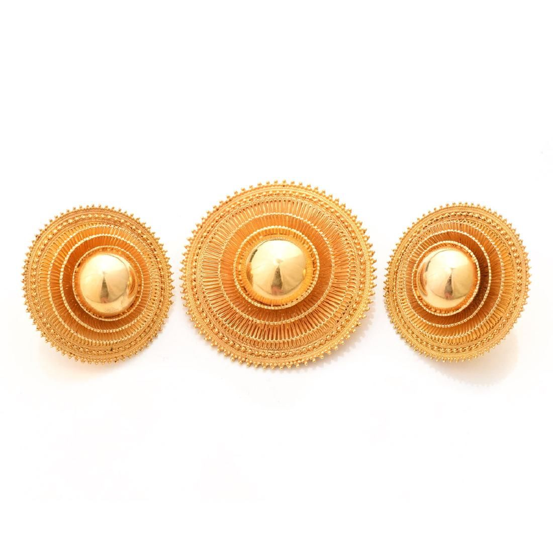 Retro Yellow Gold Sunburst Jewelry Suite.