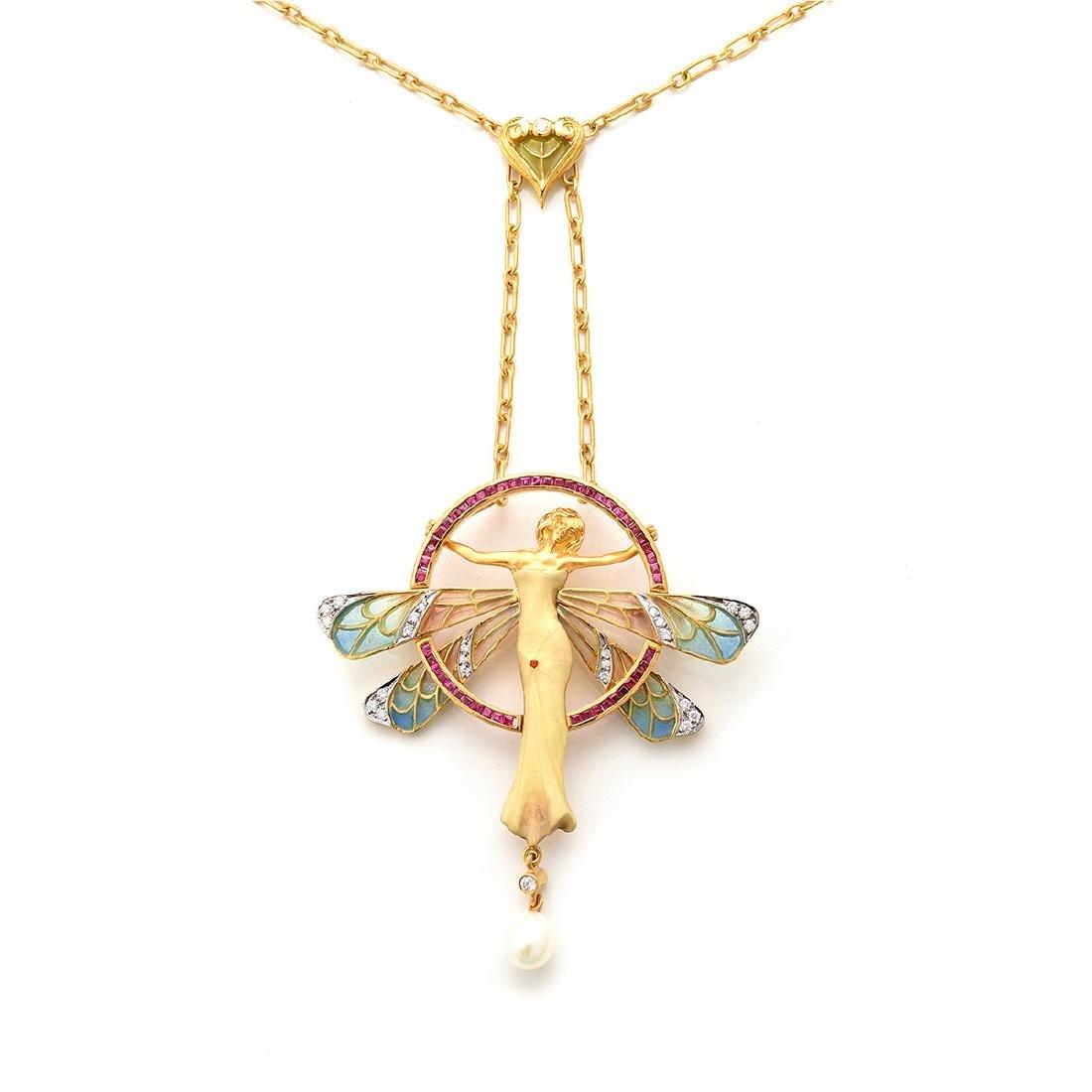 Masriera Enamel, Diamond, Ruby, 18k Yellow Gold Brooch
