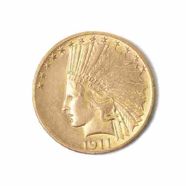 US 1911 Indian Head Gold Coin $10.00 AU Condition