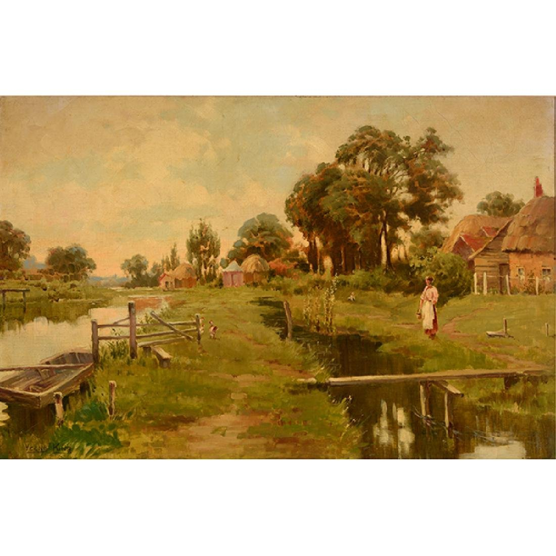 "Henry John Yeend-King ""Moored Boat with Figure"" oil on"