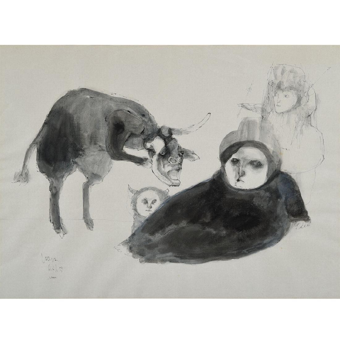"""Jose Luis Cuevas """"Dream"""" watercolor and ink"""