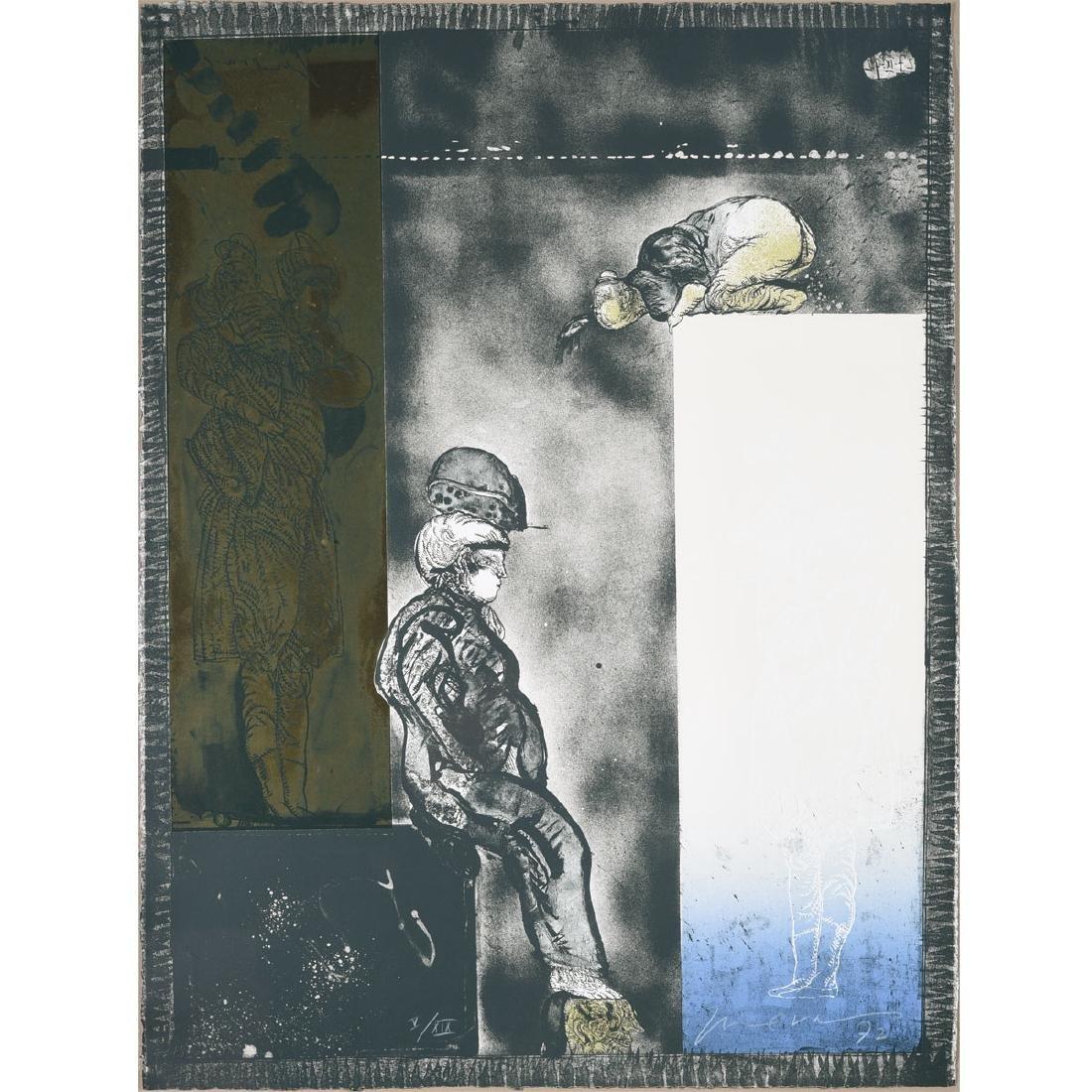 "Jose Luis Cuevas ""Tower of Babel"" mixed media"