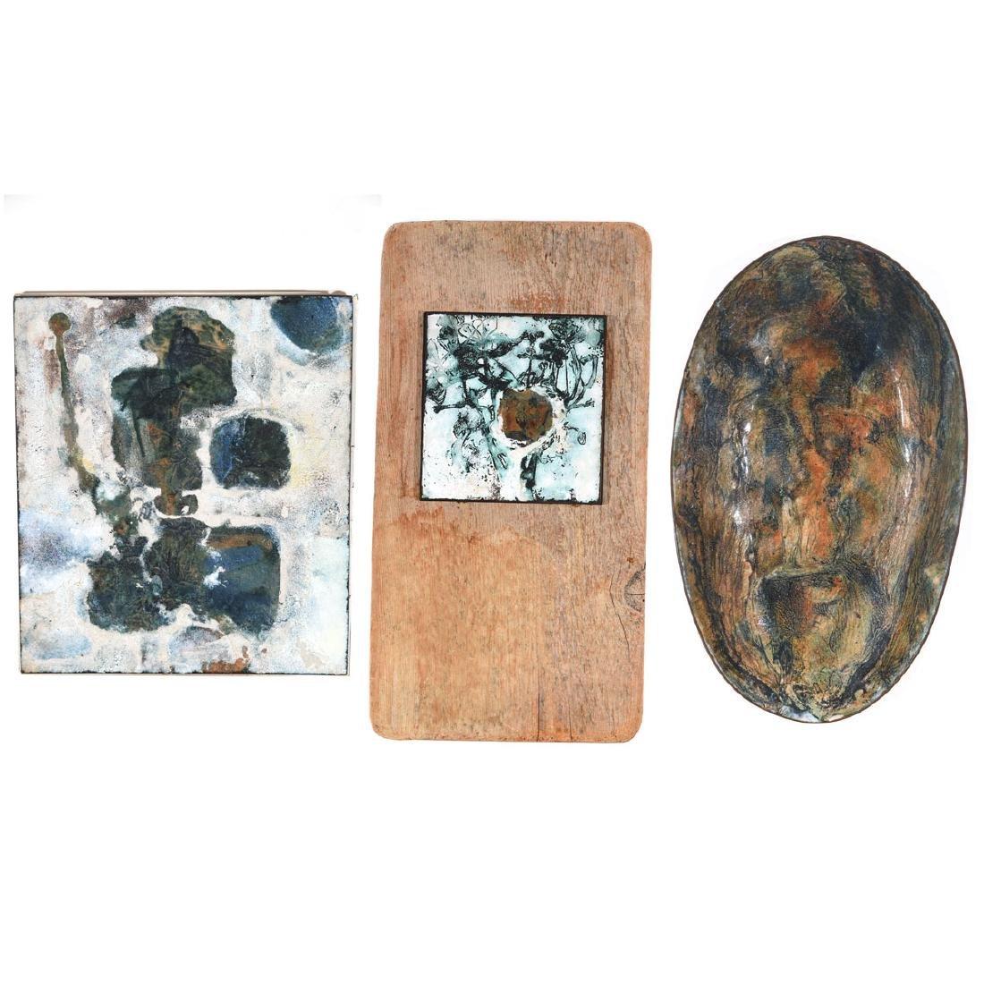 """June Schwarcz 3 """"Abstract"""" enameled metal wares"""