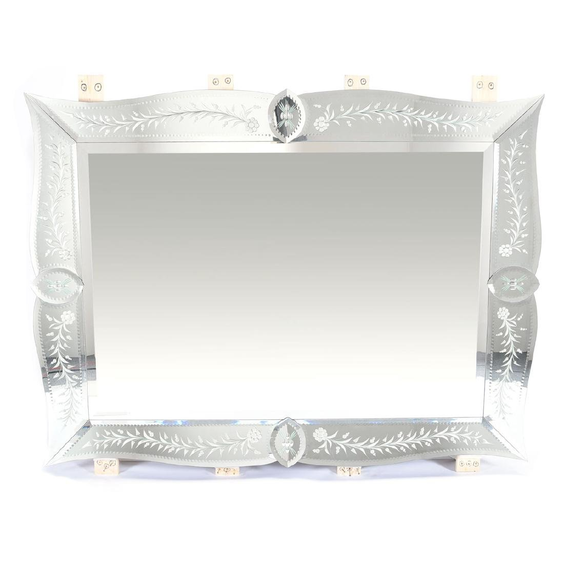 Michael Taylor Murano Mirror, hand engraved by Austrian