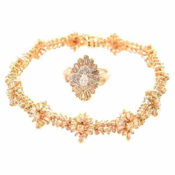 "Diamond, 14k Yellow Gold ""Sunburst"" Motif Jewelry"