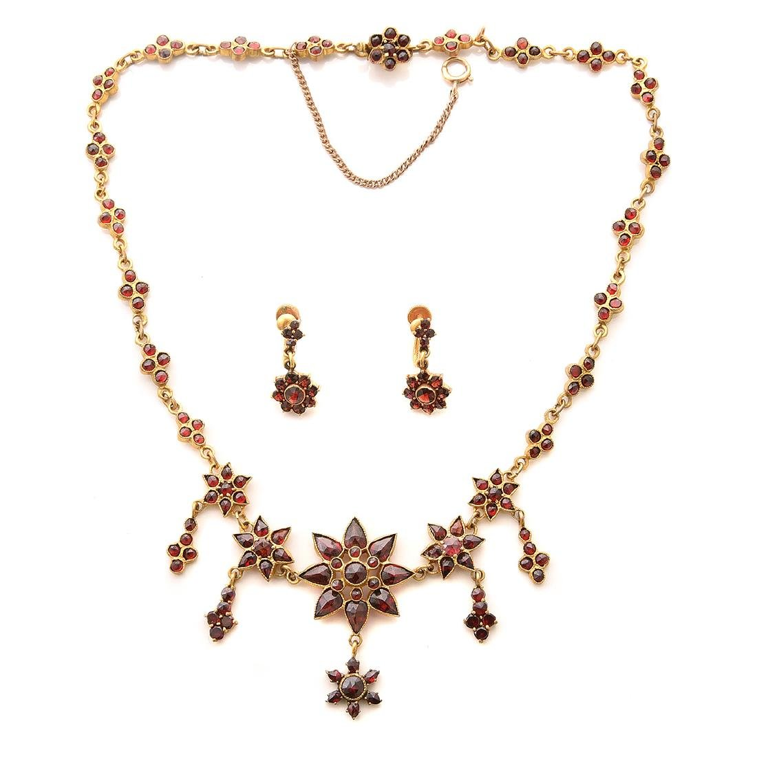 Victorian Garnet, Gilt-Metal Jewelry Suite